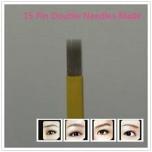 50 Pcs 15 Pin Double Needles Blade For Permanent Eeybrow Tattoo Needle Tips Manual Beauty Makeup Microblading Blades Fog Eyebrow