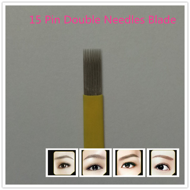 50 Pcs 15 Pin Double Needles Blade For Permanent Eeybrow Tattoo Needle Tips Manual Beauty Makeup Microblading Blades Fog Eyebrow