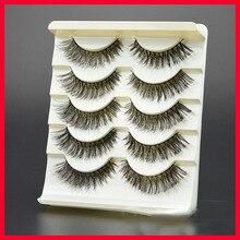 2017 New Thick Cross False Eyelashes 1 Box 5 Pairs High-quality Natural Makeup Tool Natural Fiber Fake Eyelashes