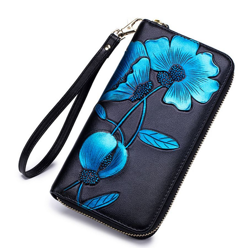 Fashion Flower Genuine Leather Women Wallet Female Long Wallet Women Lady Clutch Money Bag Coin Purse Phone Pocket Portomonee fashion girl change clasp purse money coin purse portable multifunction long female clutch travel wallet portefeuille femme cuir
