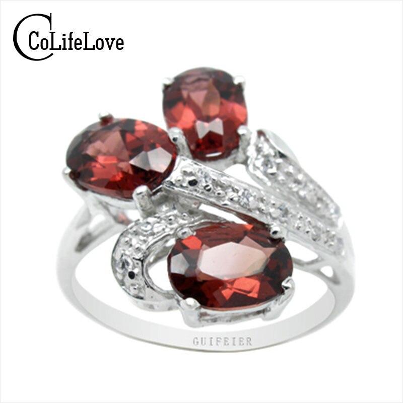 Chrame design garnet ring fashion silver jewelry ring 3*5mm natural garnet gemstone ring solid 925 silver garnet ring