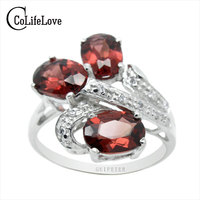 Luxurious Engagement January Birthstone Natural Garnet Ring With 925 Silver Gift For Girlfriend From The Biggest