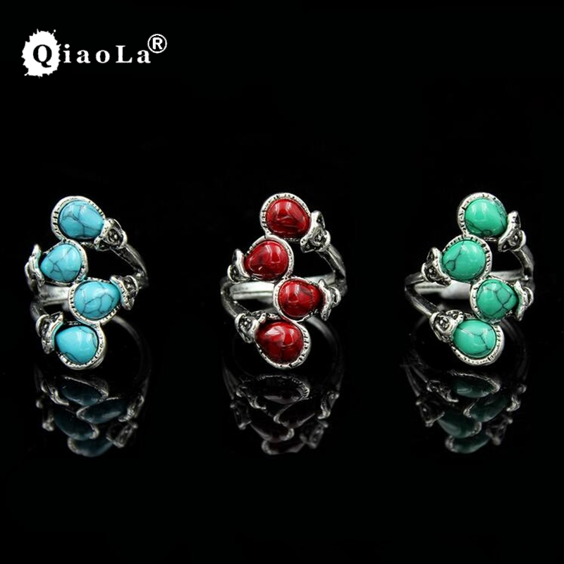 3 Colors Tibat Amulet Rings For Women Vintage Look Tibetan Alloy Antique Silver Plated Cute Four Bead Plant Green Stone Rings
