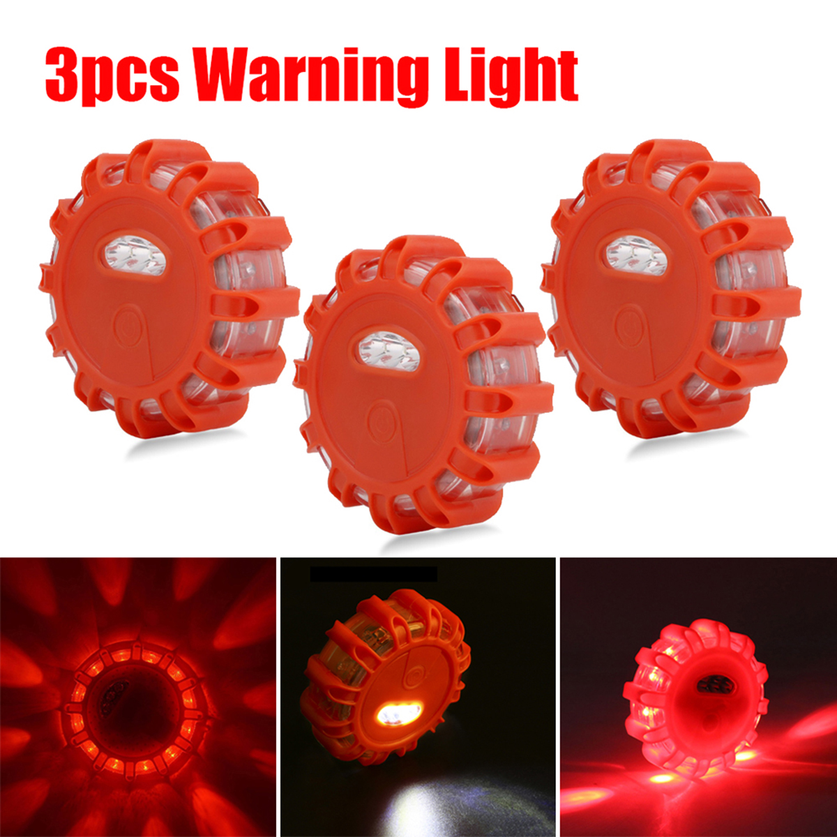 3pcs Security Alarm Strobe Signal LED Lamp Road Rescue Lights Flares Flashlight Warning Light Roadside Safety Flashing Light 1pcs rechargeable flashing warning lights led road flares red safety flashlight beacons roadside emergency disc beacon