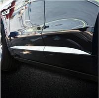 High Quality 6PCS ABS Matte Pearl Chrome Car Side Door Molding Trim 3D Sticker For Jaguar F Pace f pace 2016 Accessories