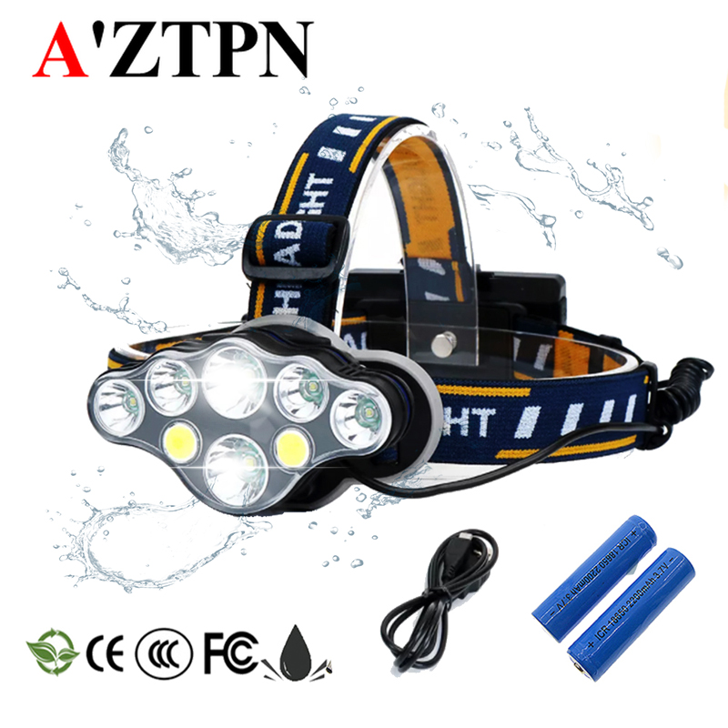 LED Headlamp 8 Modes  Camping Headlights White-Red-light Fishing Headlamp Hiking Flashlight Use 2*18650 Battery+Charger
