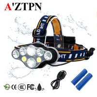 LED Headlamp 8 Modes Camping Headlights White-Red-light Fishing Headlamp Hiking Flashlight Use 2*18650 Battery+Charger