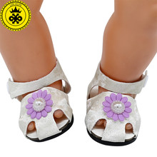58209c2b5bee07 Doll Shoes Summer Sunflower Flower Sandals Doll Shoes Fit 43cm Baby Doll  and 18 inch Girl Doll drop shipping 108