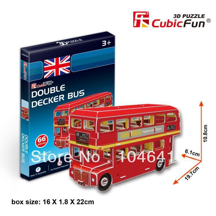 Double Decker Bus CubicFun 3D educational puzzle Paper & EPS Model Papercraft Home Adornment for christmas gift petronas towers cubicfun 3d educational puzzle paper