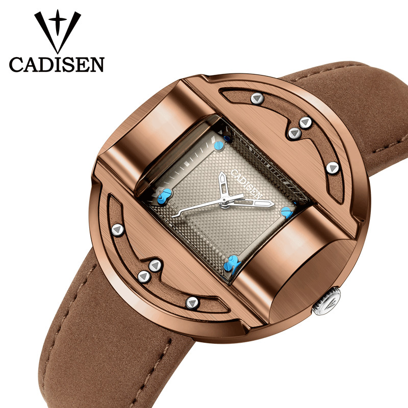 CADISEN Men Watches Fashion Sport Creative Luxury Brand Quartz Clock Leather Military watch men relogio masculino erkek kol saat hannah martin men s sport watches top brand wrist watch men watch fashion military men s watch clock kol saati relogio masculino