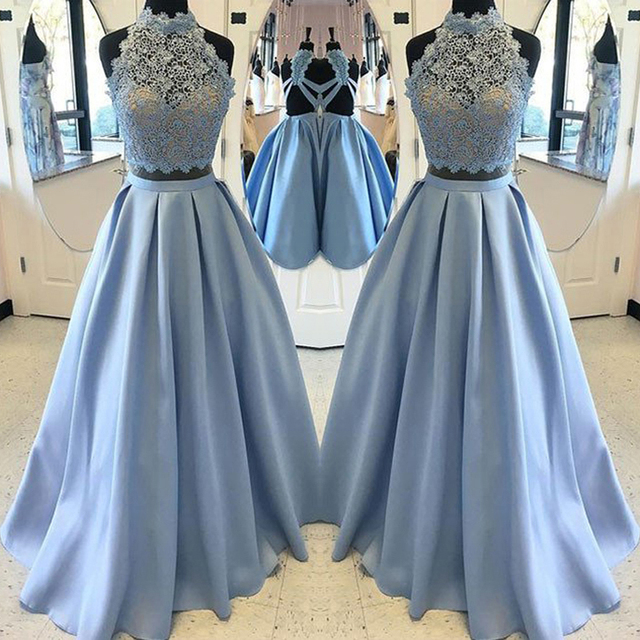 c9d18318f91 Dresstells 2 Piece Prom Dresses Ice Blue A-line Halter Sleeveless Backless  Lace Evening Dress Party Gown Summer Dresses