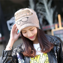 Women Winter Hat Women Skullies Beanie Scarf Hat Warm Unisex Outdoor Fashion Knit Wool Cap Set 2016 New Cotton Glasses Print