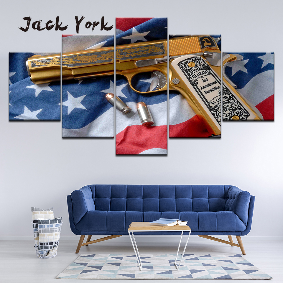 Canvas Painting The Gun On The American Flag 5 Pieces Wall Art