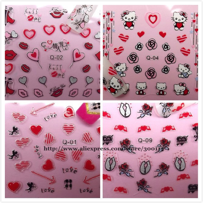 wholesale Valentine\'s Day love Nail Art Stickers beauty decoration ...