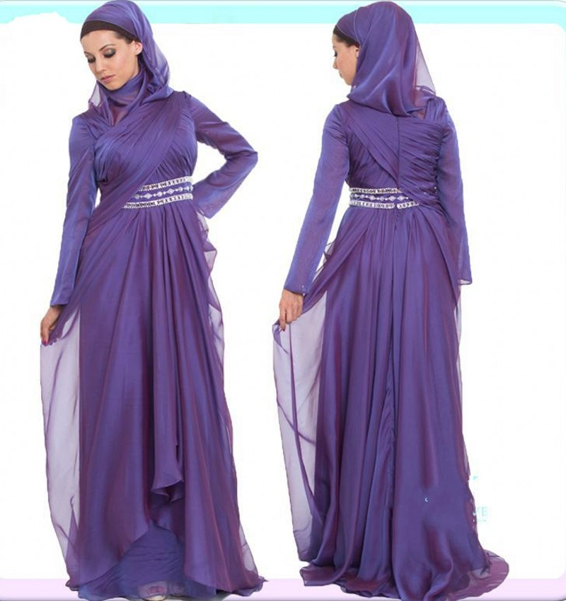 2017 New Arrival Purple Long sleeve Muslim Evening Dresses with Beads Chiffon Islamic Formal Dresses with