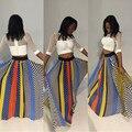 Las mujeres más el tamaño largo de tul faldas 2016 primavera verano gasa de la impresión colorida maxi faldas american apparel falda XD126