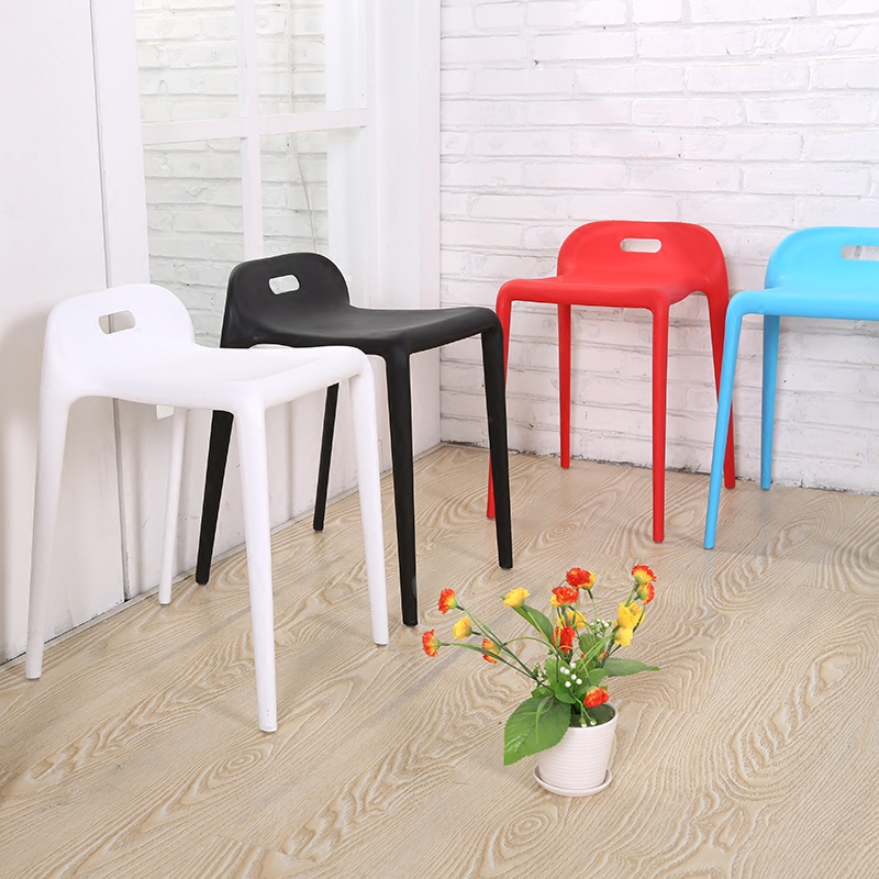 Modern Design Plastic Stackable Stool Living Room Stool Dining Stool Low Back Easy Take Stool Shoes Changing Colorful Stool 2PCS(China)