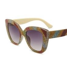 b46bae81f4357 Phoemix Cat Eye Óculos De Sol Colorido Stripe Oculos Retro Gótico Dos  Homens Das Mulheres de Luxo Da Marca do Desenhador 2019 óc.