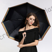 2pcs/lot colour options fiberglass windproof 5 times black coating anti-UV parasol pocket mini folding rainbow printed umbrella