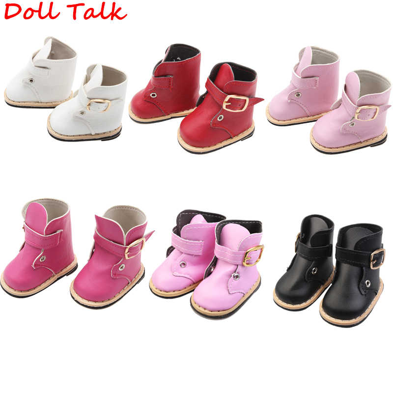 Doll Talk 18 inch American doll shoes boots new high quality Pink white boots bjd 1/6 1/3 shoes Doll Girl Booties Accessory