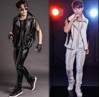 Original men leather vest personalized singer dance stage street star style sleeveless rivet tassel clothing punk rock dress