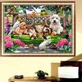 Diy 5d diamante pintura do gato do cão animais bordado ponto cruz decoração da casa de artesanato