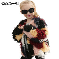 New Autumn Winter Children Fur Coat Girls Faux Fur Rabbit Jacket Clothing 2 10 Year Child Out Wear Thickening Overcoat Clothes