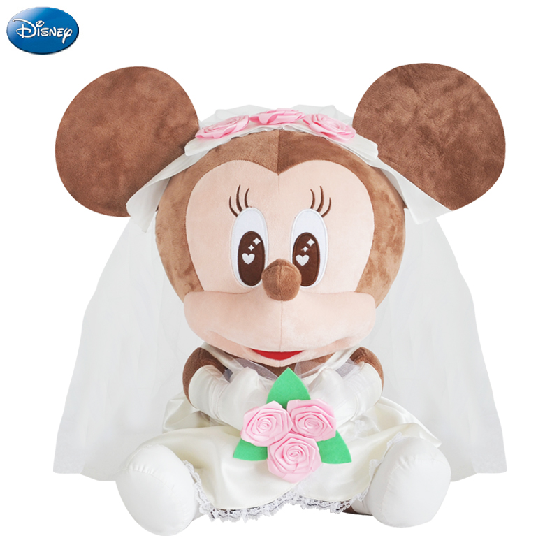 Genuine Disney Wedding Dress Mickey Mouse Minnie Kawaii Plush Cotton Stuffed Animal Toys Doll Christmas Gift Toys for Baby Girls