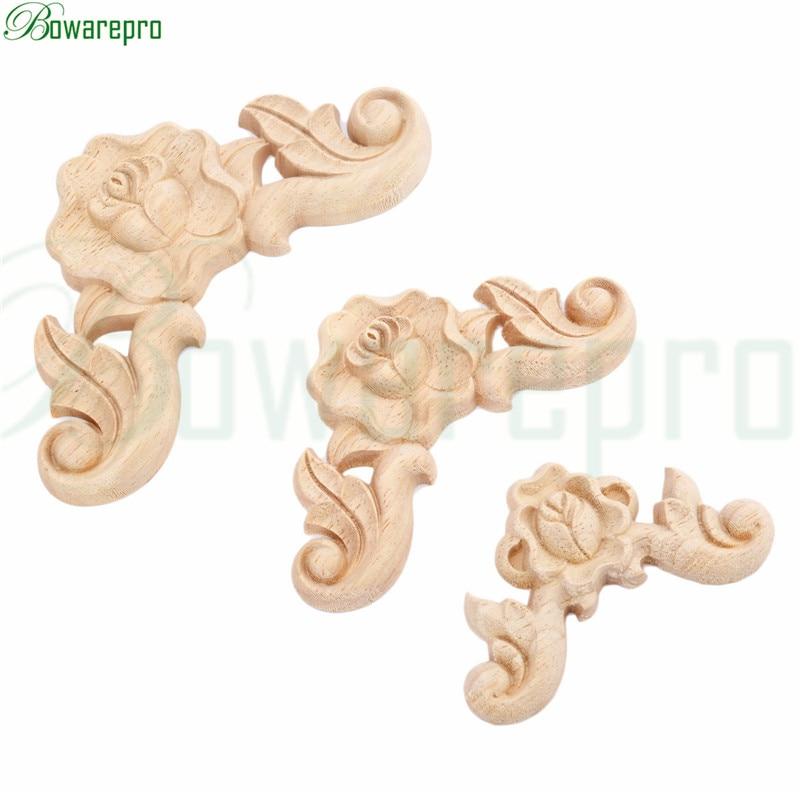 bowarepro Wood Carving Decal Vintage Carved Angle Wood Rose Floral Wooden Applique Home Decoration Accessories 6*6/8*8/10*10cm набор кухонный marvel rose wood 8 предметов