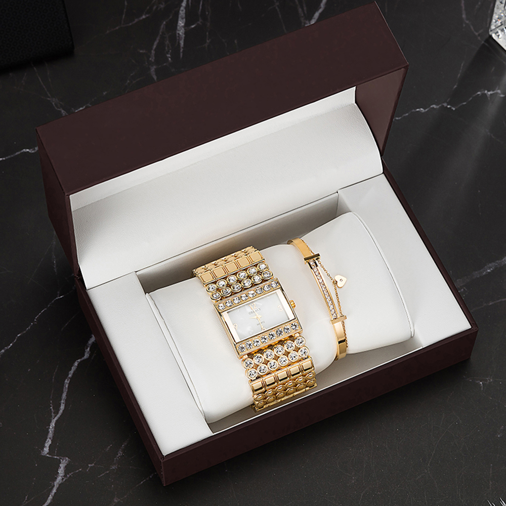 3PCS Top Quality Watches Stainless Steel Bracelet Fashion Women's Rhinestones Square Case Watches Wit Gift Watch Box Set Bangle