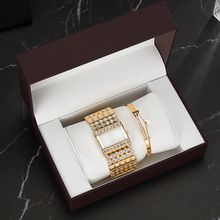 3PCS Top Quality Watches Stainless Steel Bracelet Fashion Womens Rhinestones Square case wit Gift Watch box Set Bangle