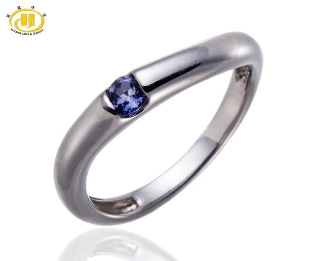 97c1292e0c4 Hutang Natuurlijke Edelsteen Ioliet Solid 925 Sterling Zilveren Ring Staart  Band Vinger Ringen Fijne Sieraden Maat