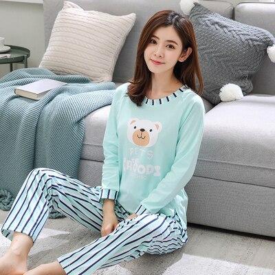 2018 Lady Cartoon Spring And Autumn Pajamas Cotton Long-sleeved Pajamas Women's Cotton Autumn Casual Sets Ladies Pajamas