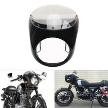 цены 7'' Round Retro Motorcycle Cafe Racer Headlight Fairing Cover Mount Kit Screen Windshield For Honda Harley AJS Cafe Racer Custom