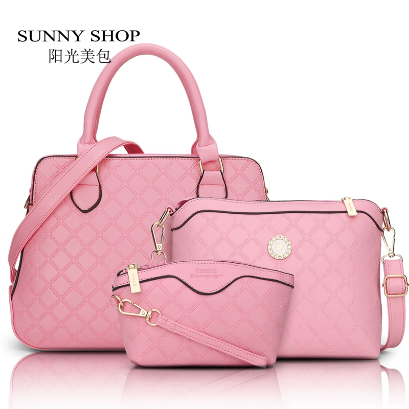 SUNNY SHOP 3 Bag/Set New Brand Designer Women Bag Plaid Fashion Femal Shoulder Bag High Quality Lady Messenger Bag Pink Color sunny shop 2017 spring new small women shoulder bag high quality genuine leather women bag brand designer handbag gift for lady
