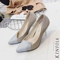 New Sexy Pointed Toe Thin High Heels 10CM Women Pumps Slip On Shallow Dress Shoes For Woman White Glod Color