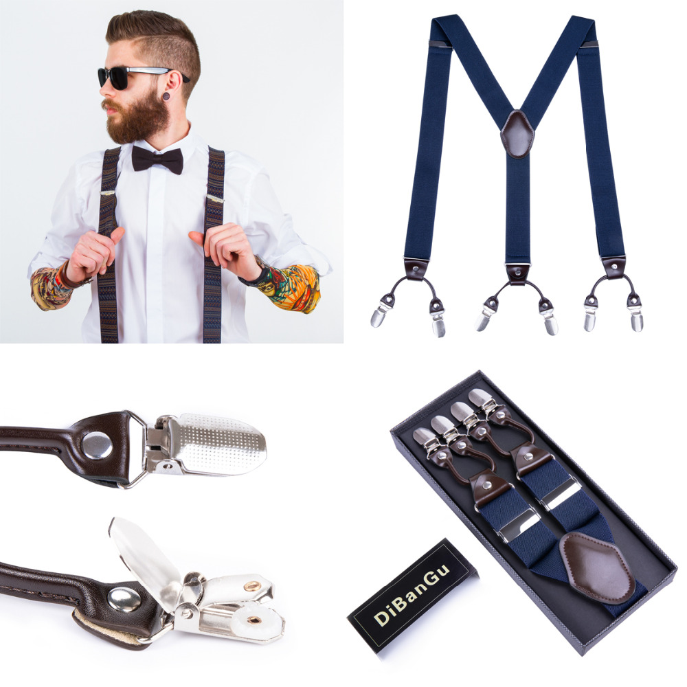 DiBanGu 3.5cm Suspenders Men Leather Braces Adjustable 6 Clips Suspenders Commercial Western Style 12 Styles With Gift Box