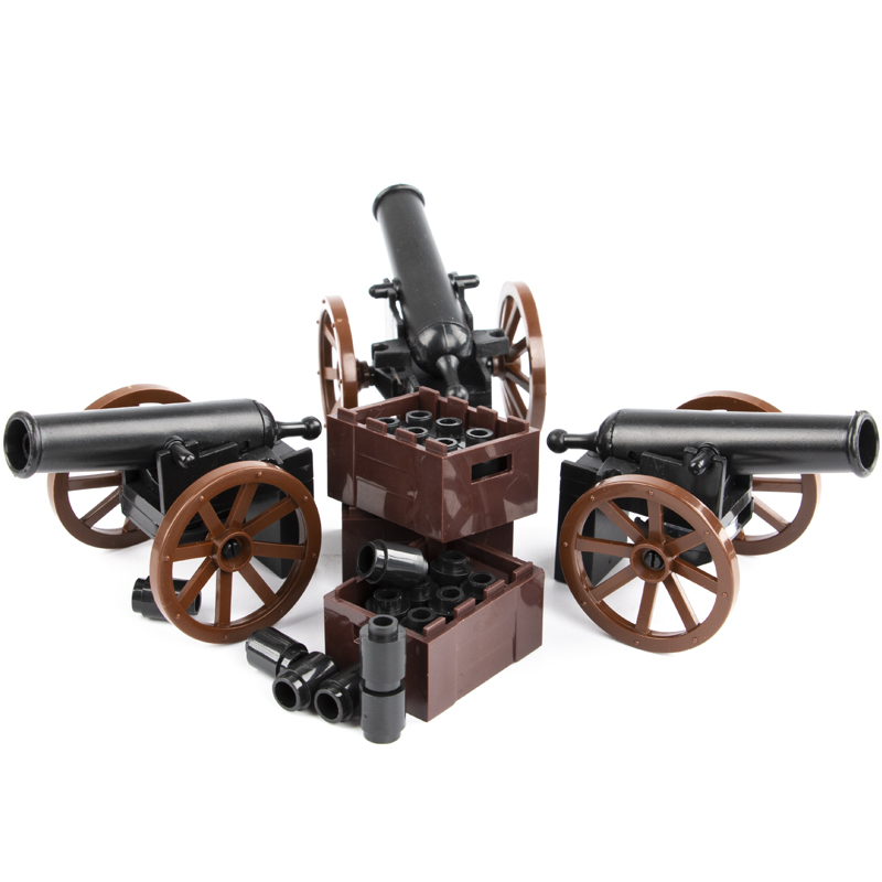 HOT Military Army Roman Soldiers Medieval Cannon Weapons Model Parts Building Block Toy Medieval Cannon Accessories Model Blocks