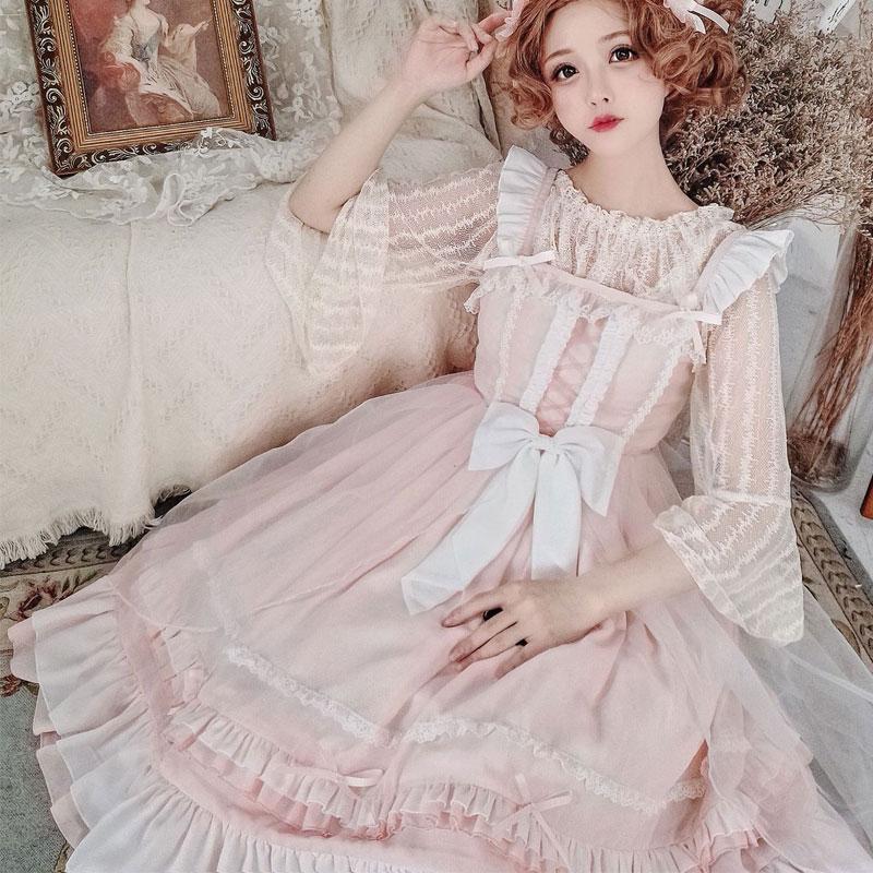 Panna Pei ~ słodka Lolita JSK sukienka klasyczna szyfonowa sukienka na imprezę na lato w Suknie od Odzież damska na  Grupa 2