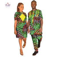 New Fashion Desigen Couple Clothes Dashiki Men Set Plus Size Women Dress O Neck Short Sleeve African Print Cotton Wax WYQ09