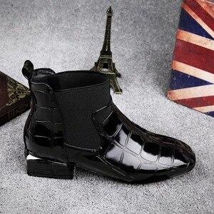Image 3 - 2020 Chic kobiety buty błyszczące PU skóra jesień zima buty kobieta Spuare Toe blok obcasy botki kobieta Botas Zapatos Mujer