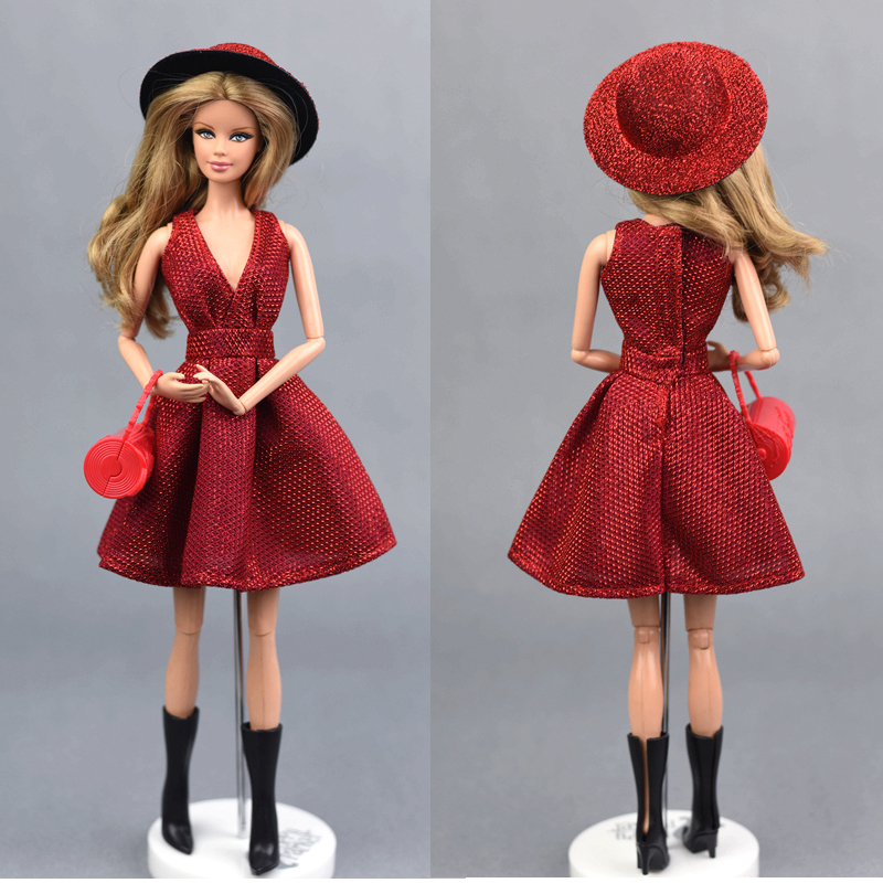 Hat + Dress + Shoes + Bag + Glasses/  Red Bling Set Suit Fashion Outfit Clothing Gown For 1/6 Barbie Xinyi Fr Doll For Girl Gift