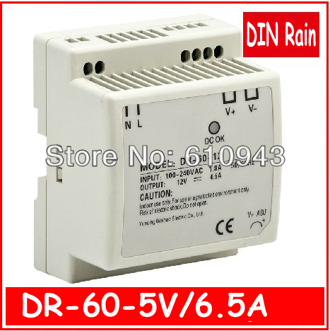 DR-60W-5V  LED Din Rail mounted  Single Output Switching power supply for LED SMPS AC to DC ac dc dr 60 5v 60w 5vdc switching power supply din rail for led light free shipping