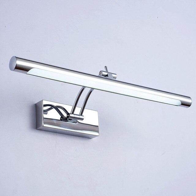 Lampa LED nad lustro wodoodporna 5W/40CM 7W/46CM 12W/55CM AC90 260V nowoczesne kosmetyczne akrylowa lampa ścienna oświetlenie łazienki regulowany