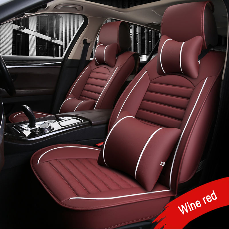 Car-Seat-Cover Toyota Protector Car-Cushion Universal Nissan for Wine Special-Leather