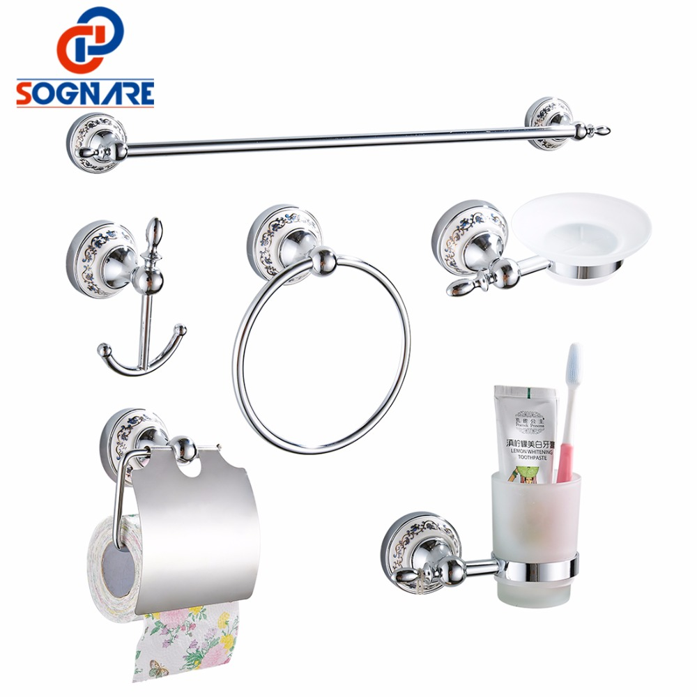 SOGNARE 6pcs Bathroom Accessories Single Towel Bar, Robe Hook, Paper Holder, Cup Holder,Soap Box Set Bath Hardware Sets D1900 dhl lepin 05072 star series the limited edition malevolence children war building blocks compatible 9515 bricks educational toys