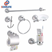 SOGNARE 6pcs Bathroom Accessories Single Towel Bar, Robe Hook, Paper Holder, Cup Holder,Soap Box Set Bath Hardware Sets D1900
