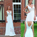Simple Wedding Dress V-neck Tank with Exquisite Beading Sashes  Floor Length Sleeveless Dresses for Brides 2017 Sexy