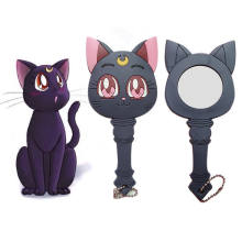 Anime Sailor Moon Luna Cat Ungu Membuat Cermin Handle Gadis Portable Cosplay(China)