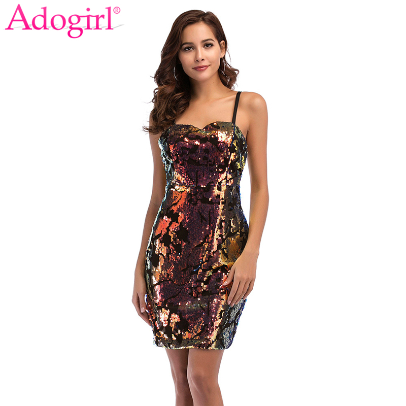 Adogirl <font><b>2018</b></font> New Strapless Spaghetti Straps Sequins <font><b>Dress</b></font> High Quality <font><b>Bodycon</b></font> Mini Party <font><b>Dresses</b></font> Women <font><b>Sexy</b></font> <font><b>Night</b></font> <font><b>Club</b></font> Costumes image